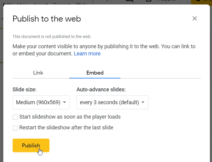 Publish to the web pop-up