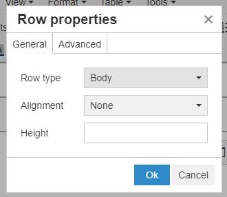 Row properties pop-up window