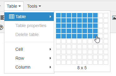 Select table size