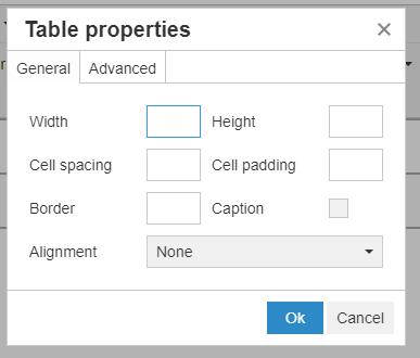 Table properties pop-up window
