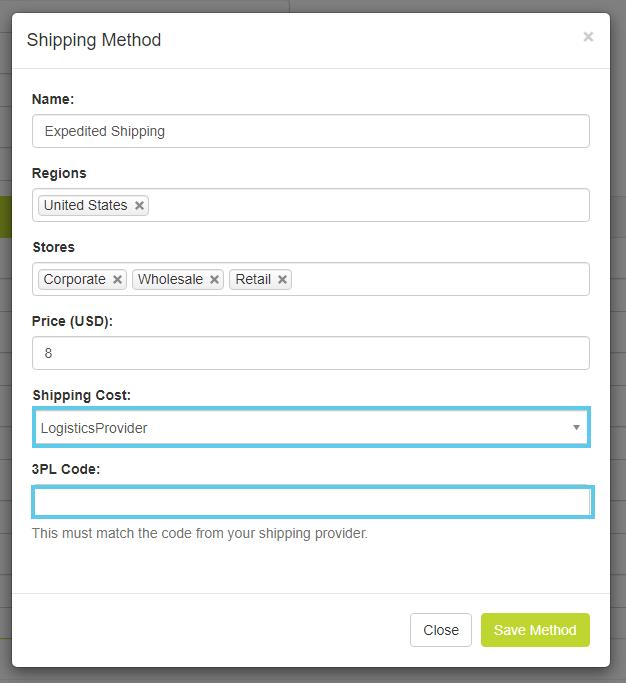 Shipping Method pop-up window