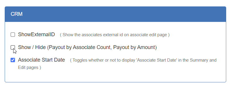 Show / Hide (Payout by Associate Count, Payout by Amount) checkbox