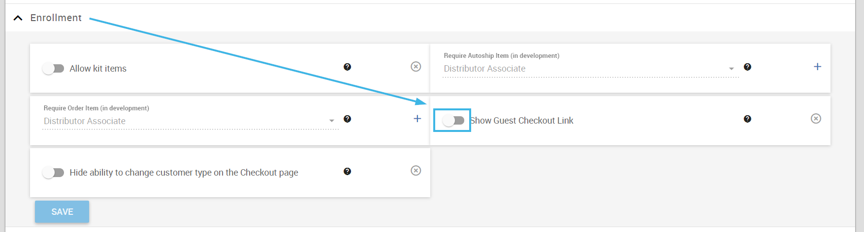 Turn off Show Guest Checkout Link toggle
