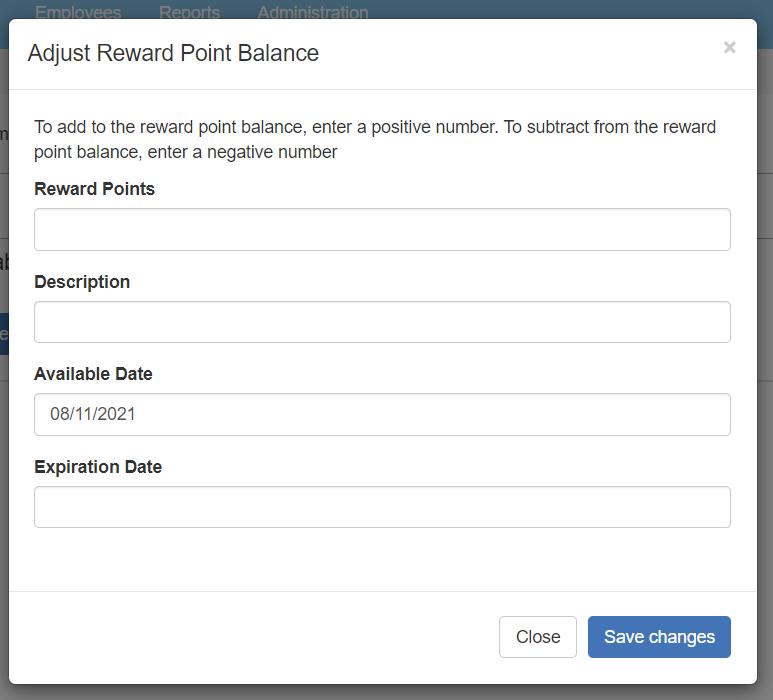 Add/Remove Reward Points pop-up window