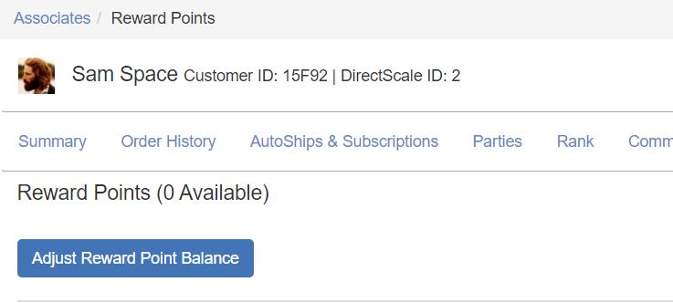 Add/Remove Reward Points button