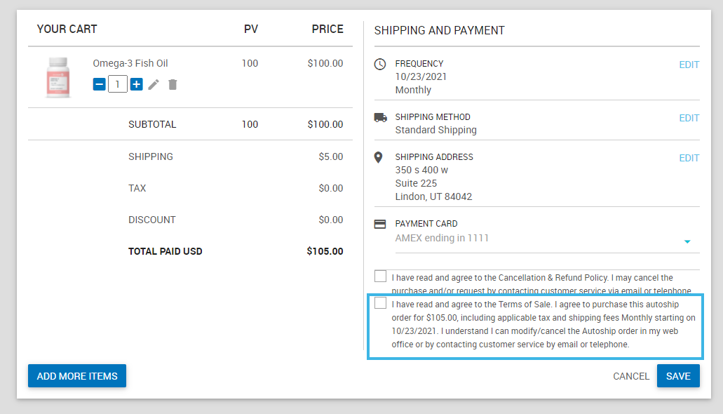 AutoOrder Terms and Conditions