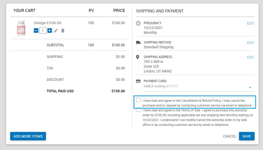 AutoShip Refund Cancelation Policy