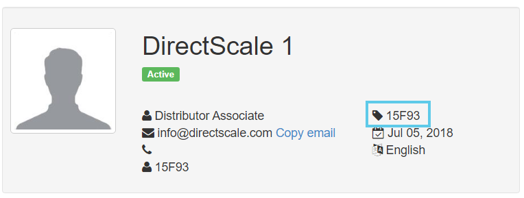 BackOffice ID in the associate detail page