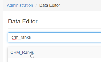 Search and select CRM_Ranks table