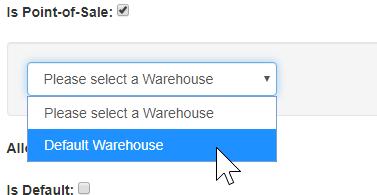 Warehouse dropdown
