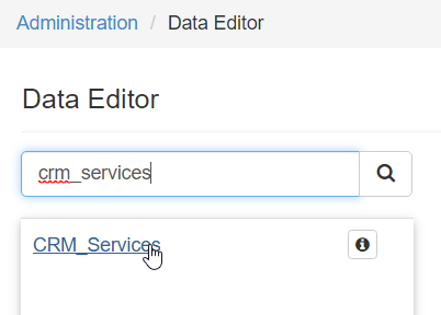 Search for and select the CRM_Services table