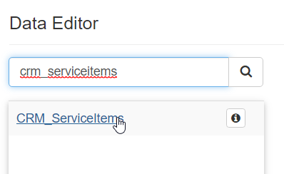 Search for and select the CRM_ServiceItems table