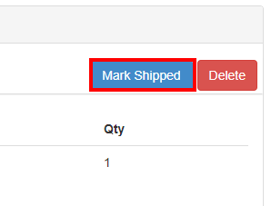 Marked Shipped button