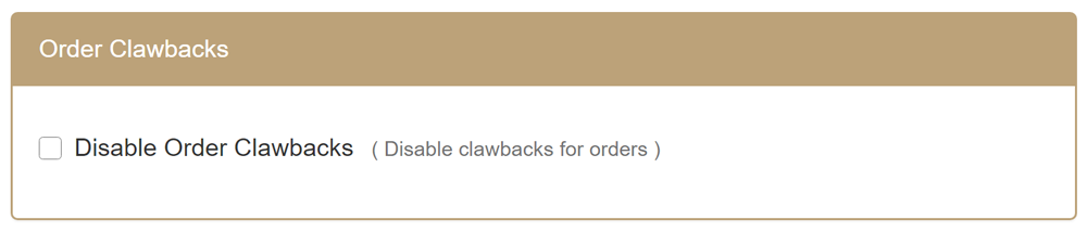Order Clawbacks section