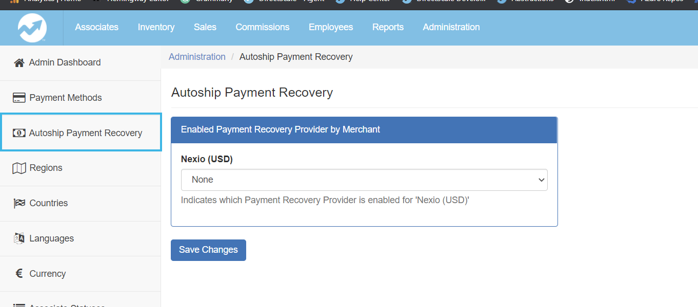 Administration > Autoship Payment Recovery