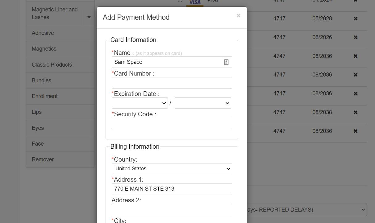 Nexio Add Payment Method pop-up example