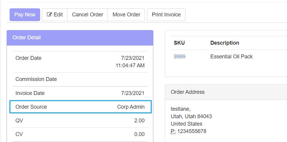 Order Detail section > Order Source label
