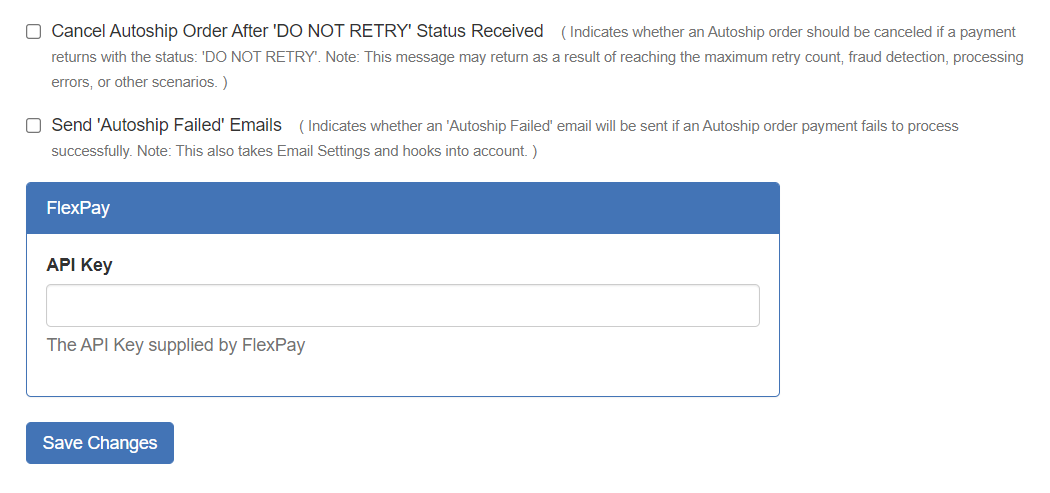 Autoship Payment Recovery settings