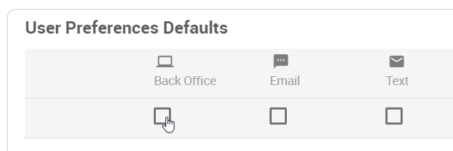 User Preference Defaults checkboxes