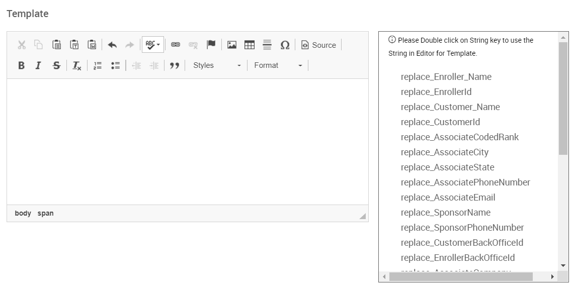 Template text editor