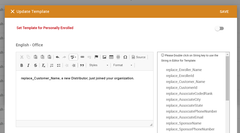 Update Template pop-up window