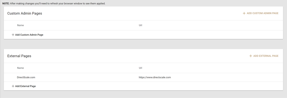 Custom Admin and External Pages