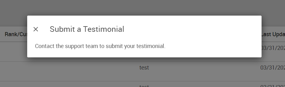 Submit a Testimonial pop-up window