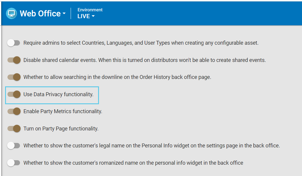 Use Data Privacy functionality toggle