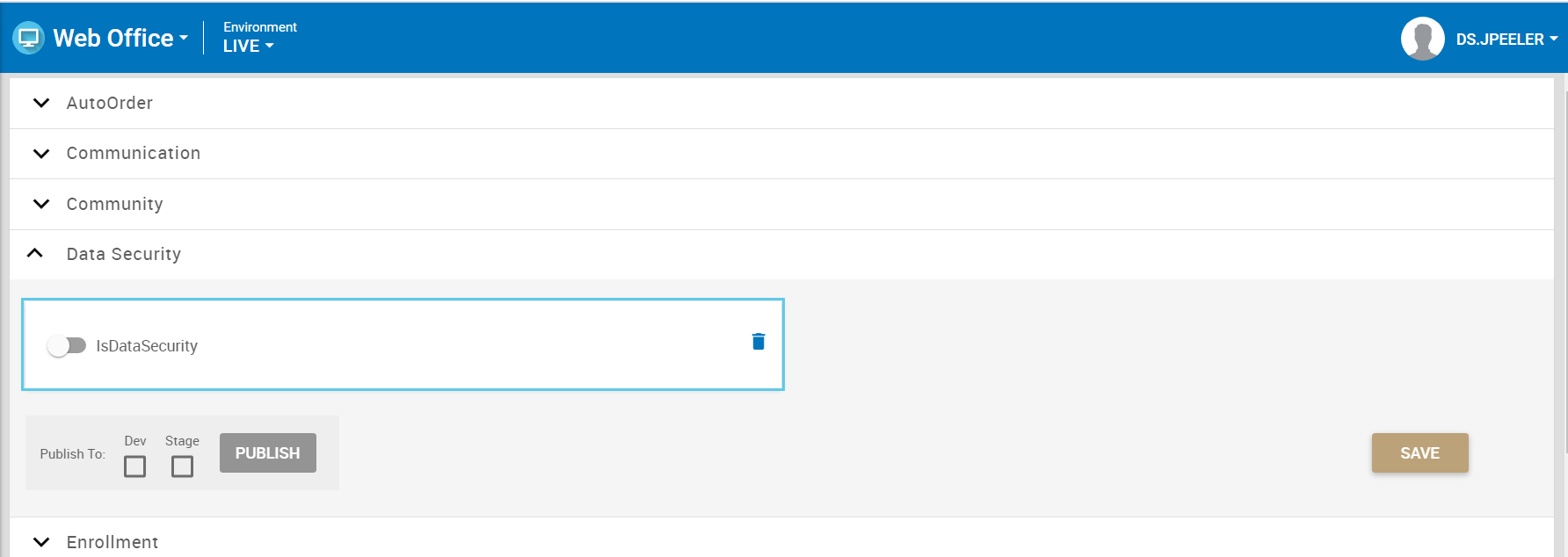 IsDataSecurity toggle