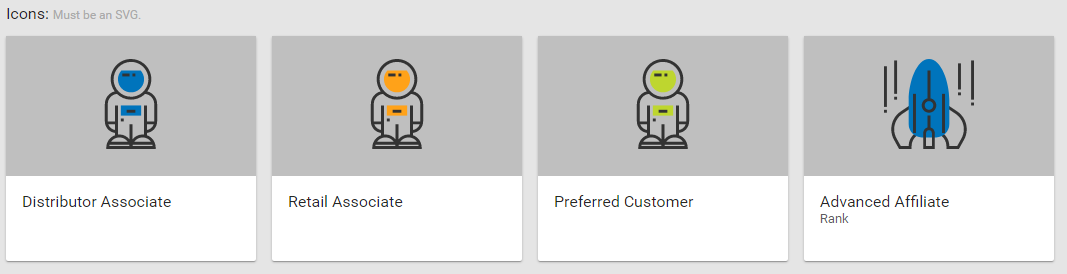 Upload Web Office Visual Tree Rank and Associate Type icons.