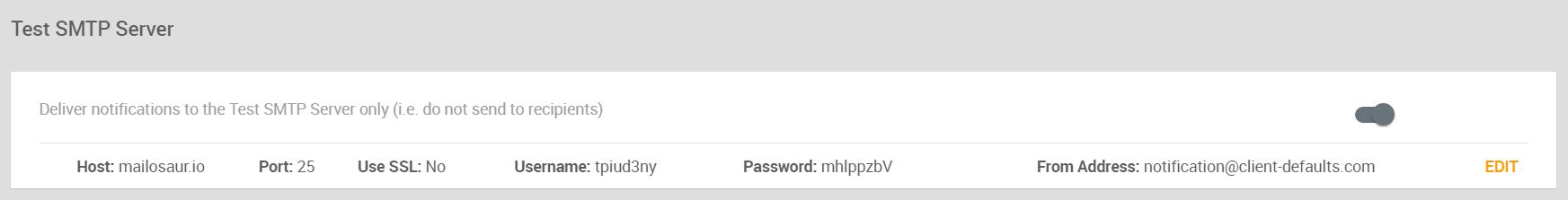 Test SMTP Server section
